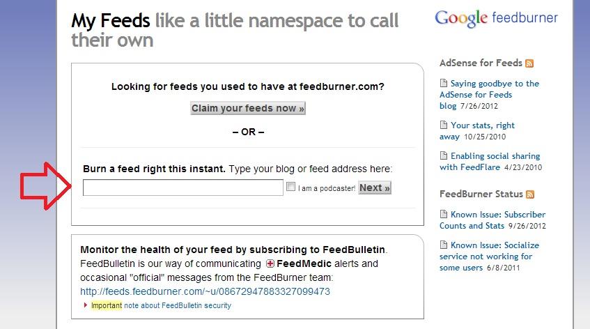cara daftarkan blog ke feedburner 1